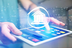 Justice icon going out a tablet interface - technology concept Stock Images