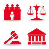 Justice icon set Stock Photos