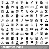100 justice icons set, simple style Royalty Free Stock Image