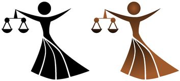 Stylized women with justice scale in hand Stock Photos