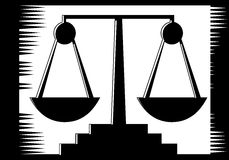 Justice scale on abstract balck and white background Royalty Free Stock Image