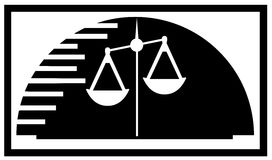 Justice scale on abstract balck and white background. Image representing a scales, symbol of justice Royalty Free Stock Photos