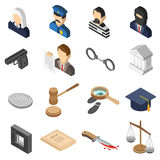 Justice Isometric Color Icon Set. Heist robbers and police court lawyer and justice 3d isometric color icon set  vector illustration Stock Photos