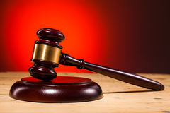 Justice judge gavel on wooden table Royalty Free Stock Image
