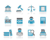 Justice and Judicial System icons Royalty Free Stock Images