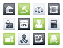 Justice and Judicial System icons over color background. Vector icon set stock illustration