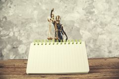 Justice lady with notepad stock images