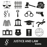 Justice and law black icons set Royalty Free Stock Photos