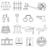 Justice and law black outline icons set eps10 Stock Image