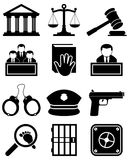 Justice Law Black & White Icons vector illustration