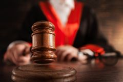 Justice and law concept. Judge justice court criminal gavel law royalty free stock photo