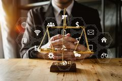 Justice and law concept.Lawyer workplace stock image