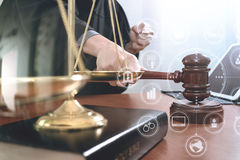 Justice and law concept.Male judge in a courtroom with the gavel Royalty Free Stock Images