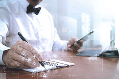 Justice and Law context.Male lawyer hand working with smart phon Royalty Free Stock Images