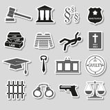 Justice and law gray stickers set Royalty Free Stock Images