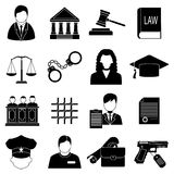 Justice law icons set Royalty Free Stock Images