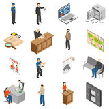 Justice And Law Isometric Icons Set. With policeman defendant judgment jail safe map interrogation isolated vector illustration Stock Photography