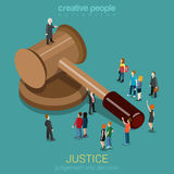 Justice and law, judgment and decision flat 3d isometric concept Royalty Free Stock Image