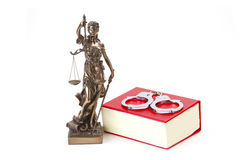 Justice Law and Justice with handcuffs. Justice with scales for Law and Justice on bright background Royalty Free Stock Photos