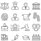 Justice, law, lawyer and court line icon set Royalty Free Stock Images