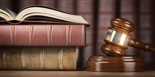 Justice, law and legal concept. Judge gavel and law books royalty free stock photo