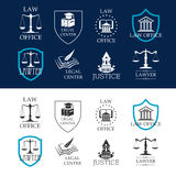 Justice, law office and legal center icons Royalty Free Stock Photos