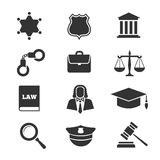 Justice, law, police vector icons Royalty Free Stock Photos