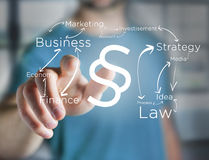 Justice and law symbol displayed on a futuristic interface with. View of a Justice and law symbol displayed on a futuristic interface with business terms Stock Photography