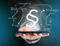 Justice and law symbol displayed on a futuristic interface with. View of a Justice and law symbol displayed on a futuristic interface with business terms Royalty Free Stock Images