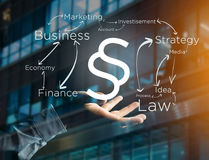 Justice and law symbol displayed on a futuristic interface with. View of a Justice and law symbol displayed on a futuristic interface with business terms Stock Photo