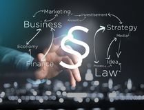 Justice and law symbol displayed on a futuristic interface with. View of a Justice and law symbol displayed on a futuristic interface with business terms Royalty Free Stock Image