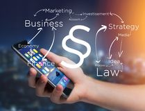 Justice and law symbol displayed on a futuristic interface with. View of a Justice and law symbol displayed on a futuristic interface with business terms Royalty Free Stock Photo