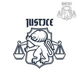 Justice and law vector heraldic lion, scales icon Stock Photo