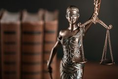 Justice. Lawyer law firm solicitor books goddess stock images