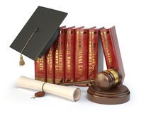 Justice, learning different fields of law concept. Books, gradua Royalty Free Stock Photography
