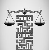 Justice Legal Solution. Justice Solution and legal direction concept as a justice scale shaped as a maze or labyrinth as a 3D illustration Stock Images