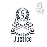 Justice legal vector emblem of gavel, wreath, book Stock Images