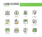 Justice - line design icons set Royalty Free Stock Image