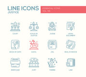 Justice - line design icons set Stock Images