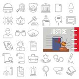 Justice line icons set decorated thematic color flat illustration. For web and mobile Stock Images