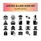 Justice, loi et ensemble parfait d'icônes de pixel juridique illustration stock