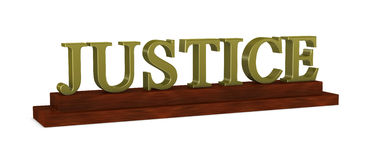 Justice nameplate. One 3d render of a wooden nameplate with the word justice Royalty Free Stock Photos