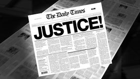 Justice! - Newspaper Headline (Intro + Loops) stock video footage