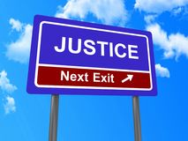 Justice next exit sign Stock Images