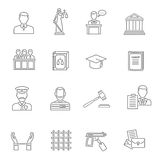 Justice Outline Icon Set. Heist robbers safety and police court lawyer and justice flat outline icon set  vector illustration Royalty Free Stock Image
