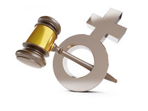 Justice over woman. On a white background Royalty Free Stock Photos