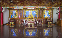 Justice pao, buddha and guan yin statue. In chinese temple Royalty Free Stock Photo