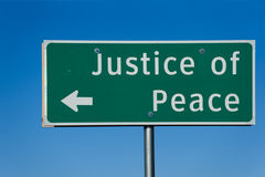 Justice of Peace. Sign with blue sky background Stock Images