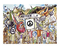 Justice and peace. Hand drawn illustration or drawing of different abstract fantasy characters with weird heads Royalty Free Stock Images