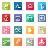 Justice plate de loi d'icônes et fond blanc Photo libre de droits